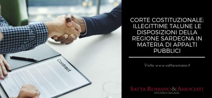 Corte Costituzionale: illegittime talune le disposizioni della Regione Sardegna in materia di appalti pubblici