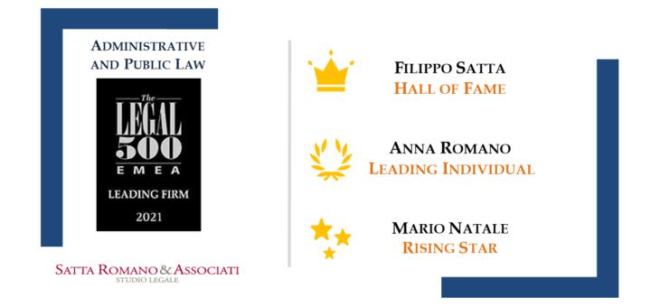Ranking The Legal 500 2021: Satta Romano & Associati protagonista in crescita dell'area 'Administrative and Public Law' con i suoi Name Partners, Filippo Satta e Anna Romano, e la 'Rising Star' Mario Natale